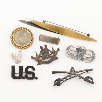 Assorted Jewelry Including Sterling, Mourning Photo Brooch and Paratrooper Wings