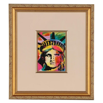"Peter Max Embellished Offset Lithograph ""Lady Liberty"""