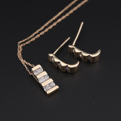 10K Yellow Gold Diamond Pendant Necklace and Earrings