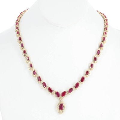 14K Yellow Gold 6.12 CTW Diamond and Ruby Necklace