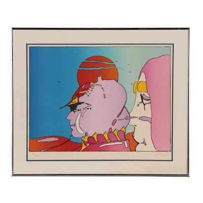 "Peter Max Color Lithograph ""Talking to Karen"", 1979"