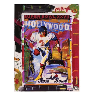 "Peter Max Offset Lithograph ""Peter Max/Super Bowl XXVII Collage"""