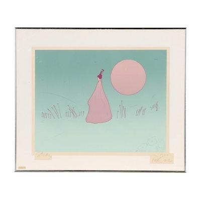 "Peter Max Embellished Serigraph ""Pink Sun"""