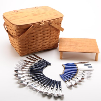 Longaberger Handmade Maple Picnic Basket with Flatware and Tray Table