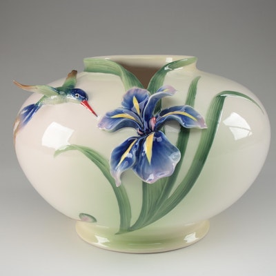 "Franz Collection ""Long Tail Hummingbird"" Bowl Shaped Vase, Contemporary"