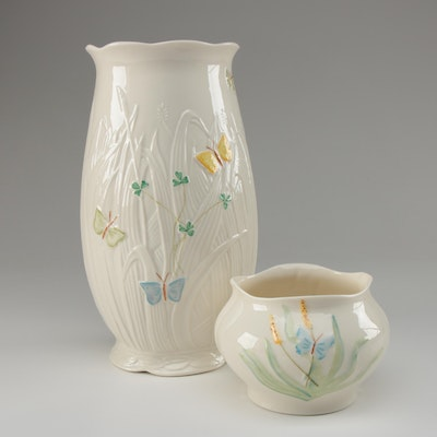 Belleek Porcelain Vase and Bowl with Butterfly Motif, Contemporary
