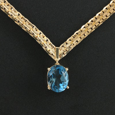 14K Yellow Gold Blue Topaz C Link Chain Necklace