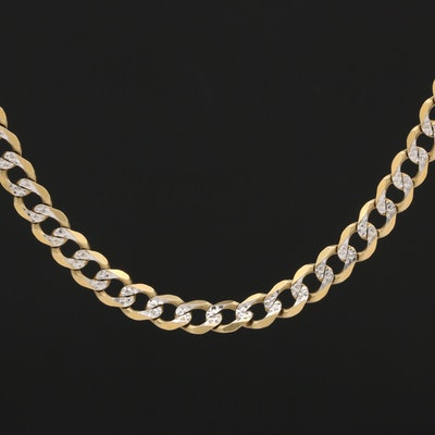 14K Yellow Gold Diamond Cut Curb Chain Necklace