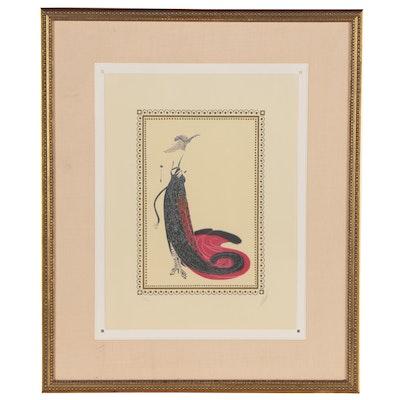 """Erté Art Deco Style Lithograph """"Black Magic"""", 1979"""