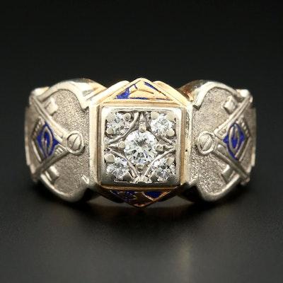 14K Yellow Gold Diamond Mason Ring