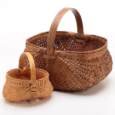 Woven Splint Wood Buttocks Baskets, 20th Century