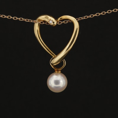 18K Yellow Gold Cultured Pearl and Diamond Heart Pendant Necklace