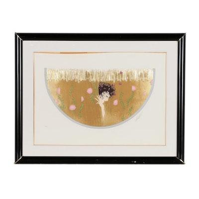 """Erté Embossed Foil Serigraph """"Harvest"""", 1987"""