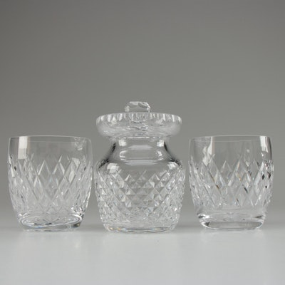 "Waterford Crystal ""Boyne"" Old Fashioned Glasses with Honey Jar"