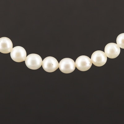Vintage Mikimoto Sterling Silver Clasp on Cultured Pearl Strand Necklace