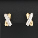 14K Yellow and White Gold Diamond Crossover Earrings