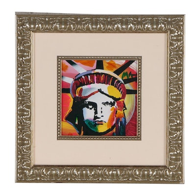 """Peter Max Embellished Offset Lithograph """"Lady Liberty VIII"""""""