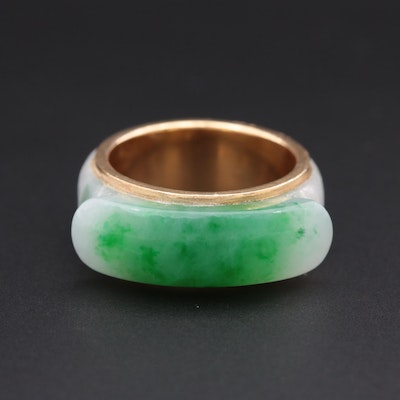18K Yellow Gold Hololith Jadeite Ring