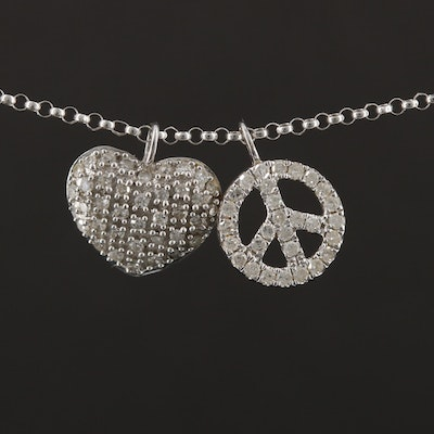 14K White Gold Diamond Heart and Peace Sign Pendant Necklace