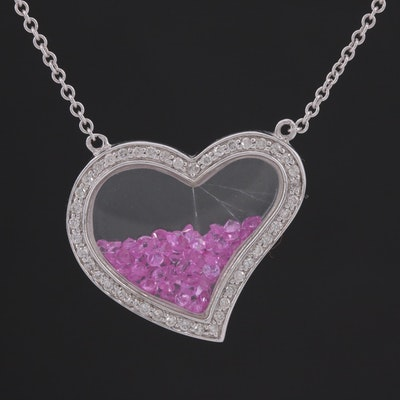 14K White Gold Diamond and Loose Pink Sapphire Heart Pendant Necklace