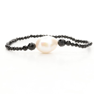 Cultured Pearl and Black Spinel Beaded Expandable Bracelet