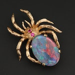 14K Yellow Gold Opal and Ruby Spider Brooch