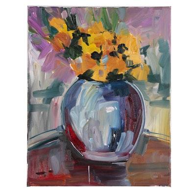 "Jose Trujillo Oil Painting ""Yellow Irises"""
