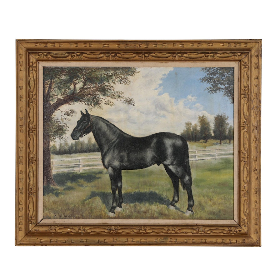 Equine Portrait Oil Painting, Mid 20th Century