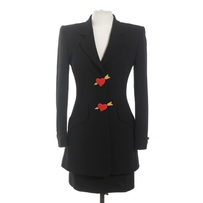 Rena Lang Black Wool Skirt Suit with Heart and Arrow Buttons, 1980s Vintage