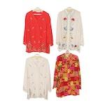 Diane von Furstenberg Embroidered and Floral Print Silk Blouses