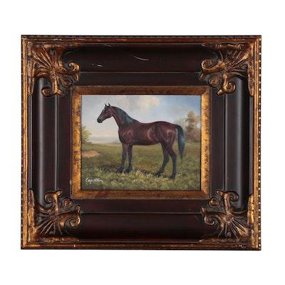 Oil Painting of Equine Portrait, 21st Century