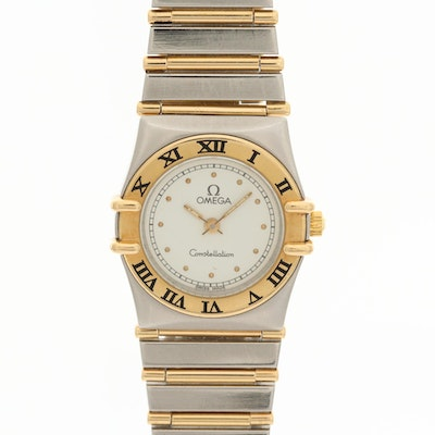 Omega Constellation 18K Gold and Stainless Steel Quartz Wristwatch