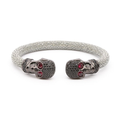 Sterling Silver Ruby and Cubic Zirconia Skull Cuff Bracelet