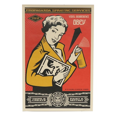 """Shepard Fairey Offset Print """"Stay Up Girl"""""""