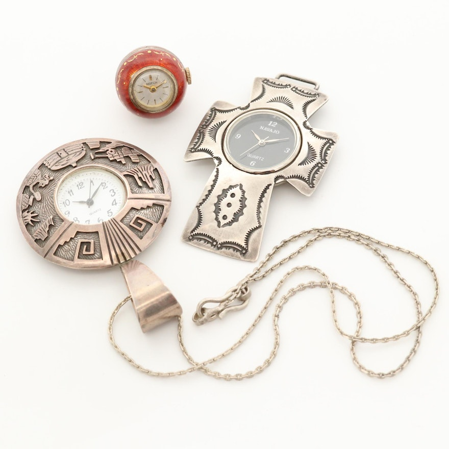 Set of Sterling Silver and Enameled Pendant Watches