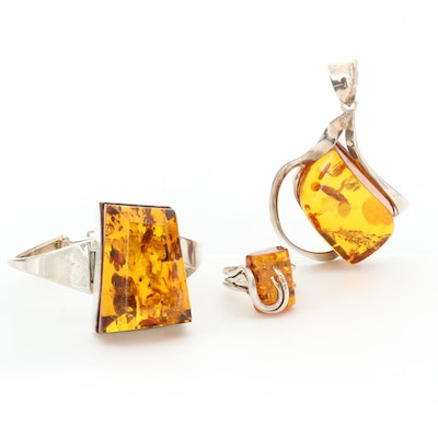 Sterling Silver Amber Bracelet, Pendant and Ring