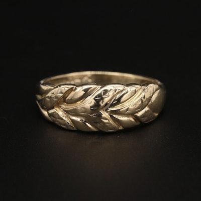 10K Yellow Gold Leaf Motif Ring