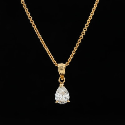 10K Gold Diamond Pendant Necklace with 14K Gold Rolo Chain