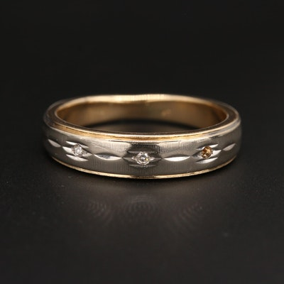 14K Yellow Gold Diamond Band with White Gold Accent