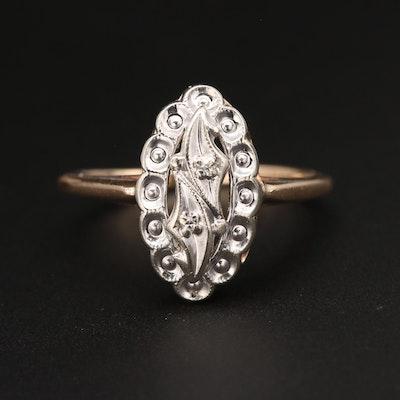1930s 10K Yellow and White Gold Diamond Ring