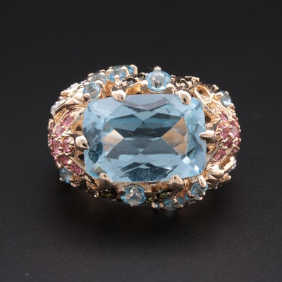 14K Yellow Gold Blue Topaz, Tourmaline and Diamond Sea Themed Ring