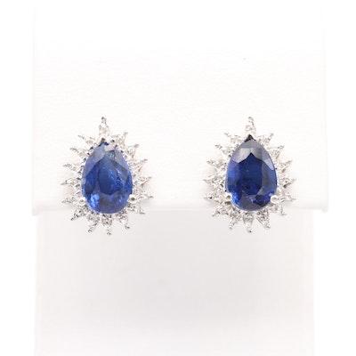 14K White Gold Kyanite and Diamond Earrings