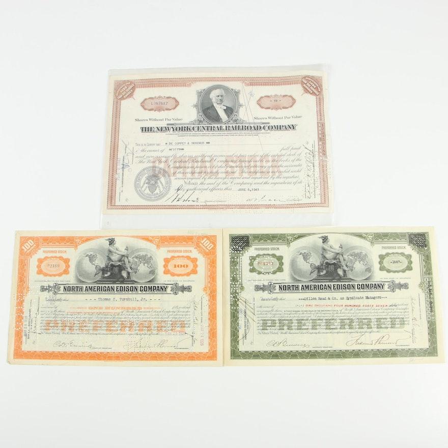 Stock Certificates Including North American Edison Company, 1920s