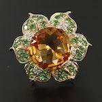 14K Yellow Gold Citrine, Tsavorite and Diamond Floral Ring