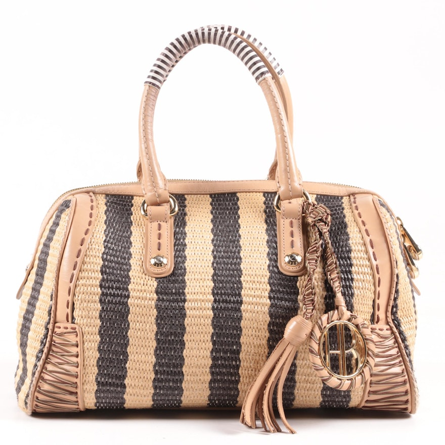Henri Bendel Striped Woven and Leather Handbag with Tassel