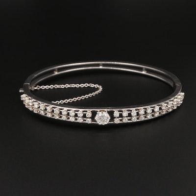14K White Gold 1.79 CTW Diamond Hinged Bangle Bracelet