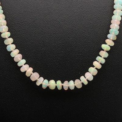 14K White Gold Opal Necklace