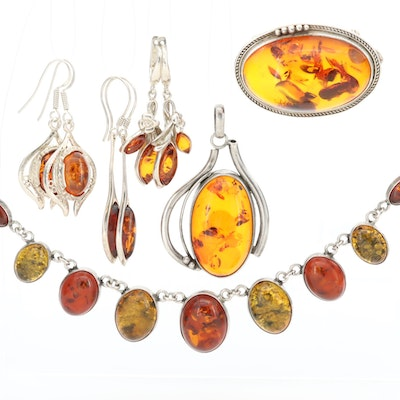 Sterling Silver Copal and Amber Jewelry Assortment Including Converter Brooch