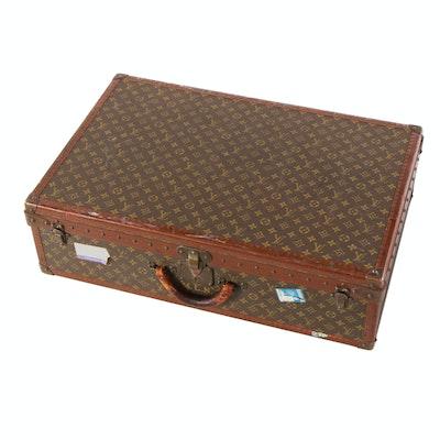 Louis Vuitton Paris Alzer 75 Monogram and Leather Hardside Suitcase, Vintage