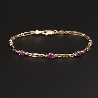 10K Yellow Gold Ruby and Diamond Bracelet